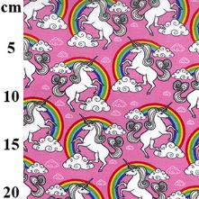 100% Cotton Pink Unicorn Print Fabric x 0.5m
